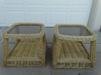 Rattan End Tables with Smoked Glass Tops