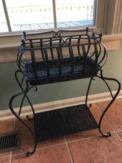 Black Iron and Wicker Stand