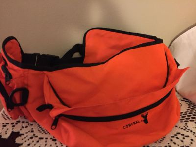 ORANGE HUNTING BELT WITH ZIP POUCHES