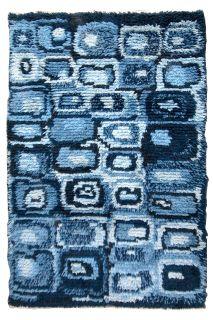 Handmade vintage Swedish Rya rug, 1B597