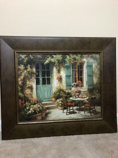 Beautiful Painting Vintage Tuscan Patio 23.5 x27.5
