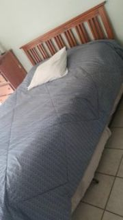 Queen Bed, Mattress, box spring, frame/headboard
