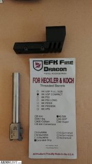 For Sale: HK USP 40 compact - Match Barrel Weight + EFK FIREDRAGON EXTENDED BARRELL - 265 OBO