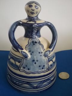 """Large hand-painted ceramic Bell, 6"""" tall, Spain"""