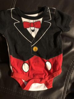 Mickey Mouse Adorable Onesie Playsuit. Back Is Different From Front So Look At All Pictures Provided. Nice Condition. Size 0-3 Months