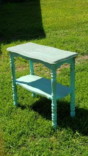 Distressed Vintage Farmhouse Hall Table Done in Light Teal