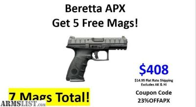 For Sale: Beretta APX NIB With (7) 17Rd Magazines $408 With Coupon Code 23%OFFAPX !