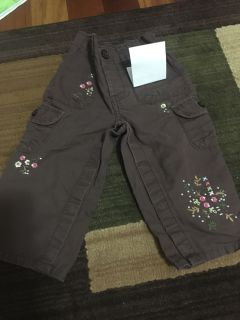 12 month brown pants with flowers