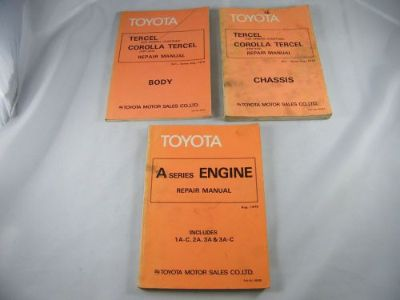 Buy (3) TOYOTA COROLLA TERCEL OEM REPAIR MANUALS BODY, CHASSIS & A SERIES ENGINE motorcycle in Bellingham, Washington, United States, for US $39.00