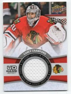CHICAGO BLACKHAWKS COREY CRAWFORD GAME USED JERSEY CARD