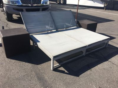 Large Patio Day Bed + 2 Patio Cube Side Tables