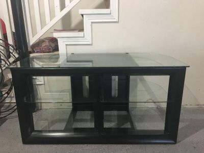 TV/Media Stand - Black with Glass Shelves