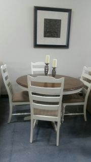 Round Buttermilk and Cherry Table with 4 Chairs