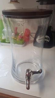 Glass water/punch dispenser with wooden top