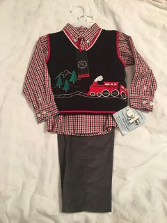Christmas Holiday Boys Train Outfit Size 3T NWT