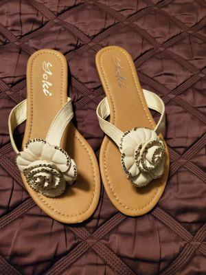 White wedding sandals