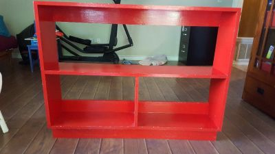 Red Wooden Kids Toy and Book Shelf