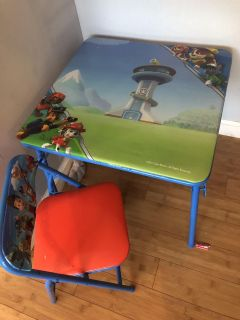 Paw patrol table & one chair