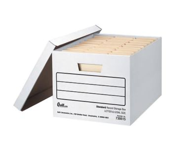 NEW! Quill Brand Medium-Duty EZ Fold Storage Boxes with Lift-Off Lids, Letter/Legal, 12/Carton