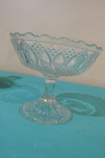 "Vintage Glass Pedestal Bowl Server Compote Fruit Bowl 6"" x 5"""
