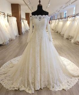 Carlies A Line Long Sleeve Wedding Gown