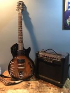 Autographed Epiphone Special II guitar and Crate amp
