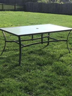 Large patio table with chairs and cushions! $200 OBO