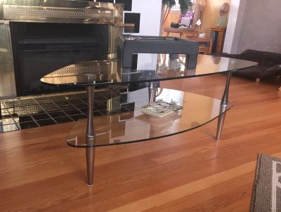 Glass coffee table with 2 end tables