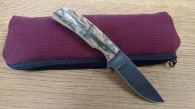 Fossil Ivory Handle Damascus Blade Knife
