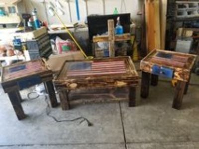 hand crafted american flag coffee table set