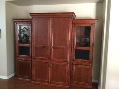 Wall Unit TV Cabinet Cherry Wood