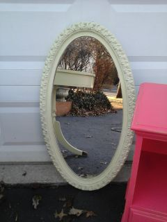 Shabby chic pale green oval mirror