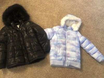 Two Justice puffer coats with detachable hoods. Size 8/10 both for $15
