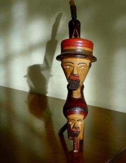 Vintage Imported 50'S Carved Folk Art Smoking Pipe