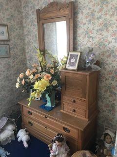 Oak Dresser with mirror.