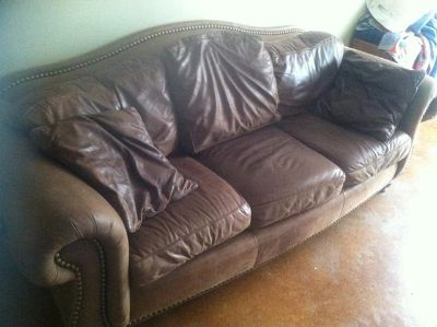$175, Brown Leather Couch For Sale Needs to Go
