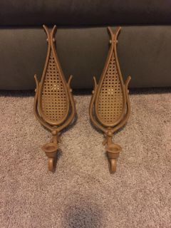Wicker Style Wall Hanging Candle Holders