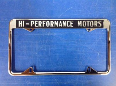 Purchase HI-PERFORMANCE MOTORS LICENSE PLATE FRAME GT-350 SHELBY MUSTANG GT-500 AC COBRA motorcycle in San Marcos, California, United States, for US $55.00