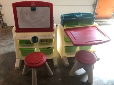 Art desk with dry erase board and stools. $15 each of both for $25