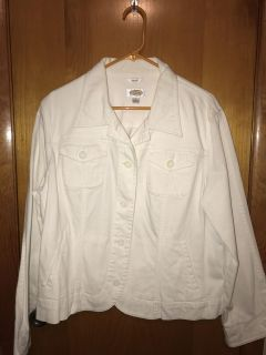 Talbots White stretchy Jean jacket Large. Perfect condition
