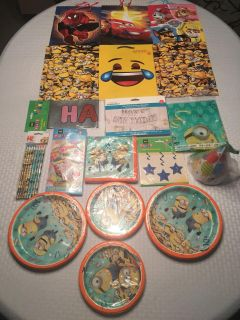 Huge Lot of Birthday Supplies & Decorations! Gift Bags, Balloons, Plates, Napkins, Hats,Banners&More