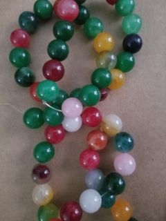 2 new strands of malaysia jade multi color beads , cross posted