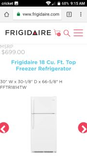 Nearly New 18cu ft Refrigerator