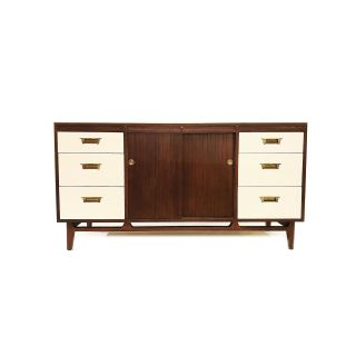 Vintage MCM Buffet In Wood and White