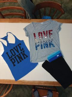Small/medium Victoria's secret Pink lot! Shirt and tank small yoga pants medium all like new excellent condition