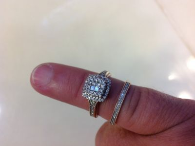Rose gold Diamond engagement ring with band from Harris Jewlers