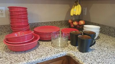Big lot! Fiesta Red dish set and some