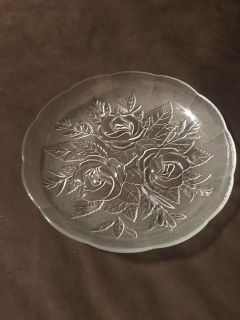 Pretty Glass Rose Decorated Deep Dish 9 across by 1/2 deep
