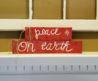 stacked Peace on Earth Blocks