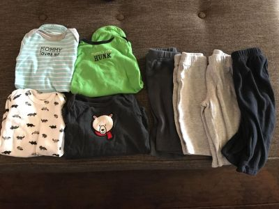 4 long sleeve onesies and pants 3 months
